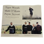 Tiger Woods, Payne Stewart & Mark O Meara Signed 1998 Waterville Golf Links Poster JSA ALOA
