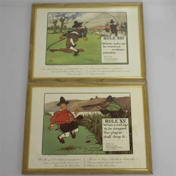 Perrier Water Golf Rules Set By Charles Crombie - Reproductions of Prints Circa 1905