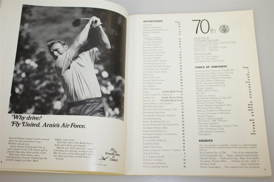 Lanny Wadkins Signed 1970 US Amateur at Waverley CC Program JSA ALOA