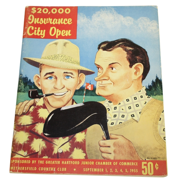 1955 Insurance City Open Program w/ Bing Crosby & Bob Hope on Cover - Sam Snead Win