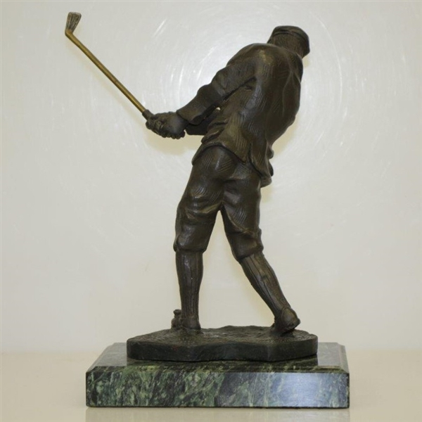 Bronze Time-Period Golfer Mid Swing Statue w/ Marble Base