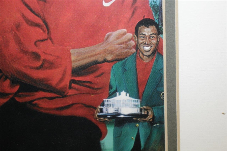 Tiger Woods 1997 Masters Matted & Framed Print Signed by Artist