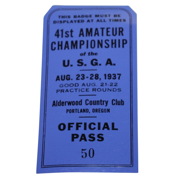 1937 U.S. Amateur Series Ticket Johnny Goodman Victory - Very Good Condition