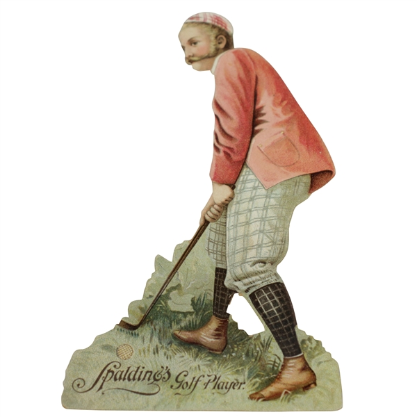 1896 AG Spalding & Bros Golf Player Die Cut Ad Stand Up Card by Koerner & Hayes of Buffalo
