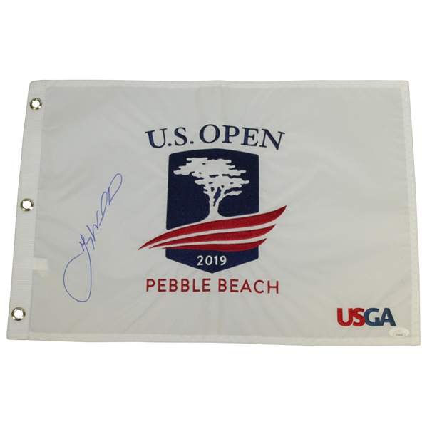 Gary Woodland Signed 2019 US Open Flag at Pebble Beach - First Major! JSA #EE39056
