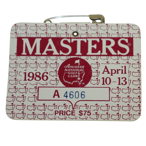 1986 Masters Tournament Series Badge #A4606 - Jack Nicklaus' Record 6th Green Jacket