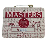 1986 Masters Tournament Series Badge #A4606 - Jack Nicklaus Record 6th Green Jacket