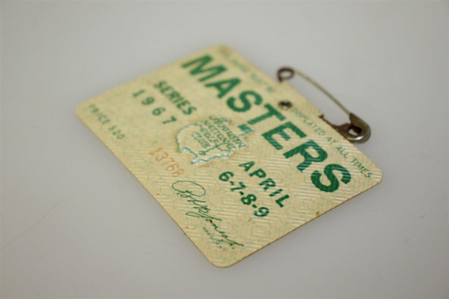 1967 Masters Tournament Series Badge #13768 - Gay Brewer Winner