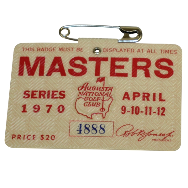 1970 Masters Tournament Series Badge #4888 - Billy Casper Winner