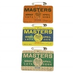 1971, 1973 & 1974 Masters Tournament Series Badges - Coody, Aaron & Player