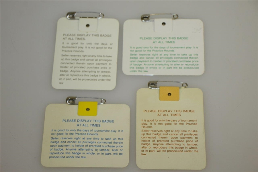 1984, 1985, 1987 & 1988 Masters Tournament Series Badges - Crenshaw, Langer, Mize & Lyle