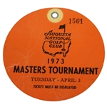 1973 Masters Tournament Tuesday Ticket - Tommy Aaron Win