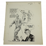 1961 Arnold Palmer Open Championship by Artist Bruce Stark Original Pen & Ink on Board