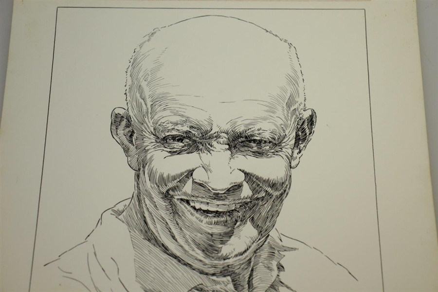 Circa 1960's I Like IKE Golf Winged Foot GC by Artist Bruce Stark Original Pen & Ink on Board