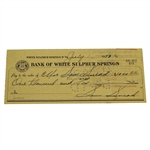 Sam Snead Signed 1953 Personal $1000 Check to His Wife