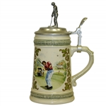 Vintage German Beer Stein w/ Putting Golfer on Hinged Top