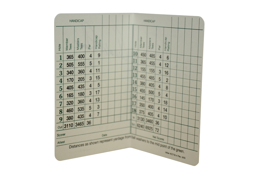 Arnold Palmer Signed Augusta National Golf Club Scorecard JSA ALOA
