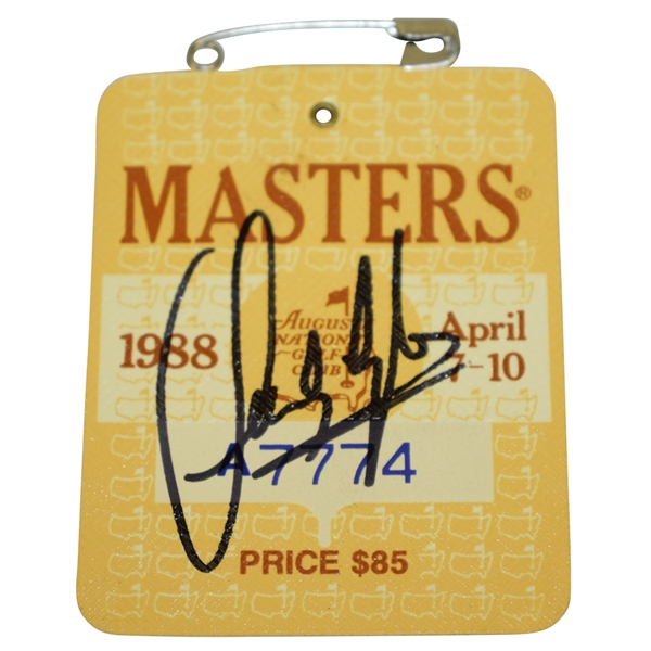 Sandy Lyle Signed 1988 Masters Tournament Badge #A7774 JSA ALOA