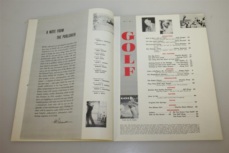Golf Magazine First Issue from April 1959 w/ Sam Snead Newstand Copy-Excellent Condition