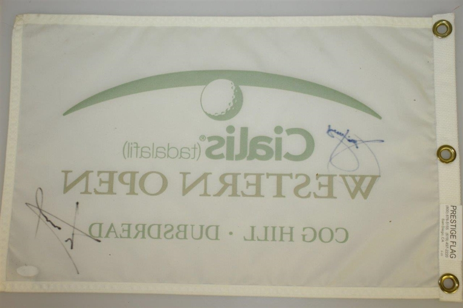 Jim Furyk & Luke Donald Signed Western Open Flag JSA #EE56162