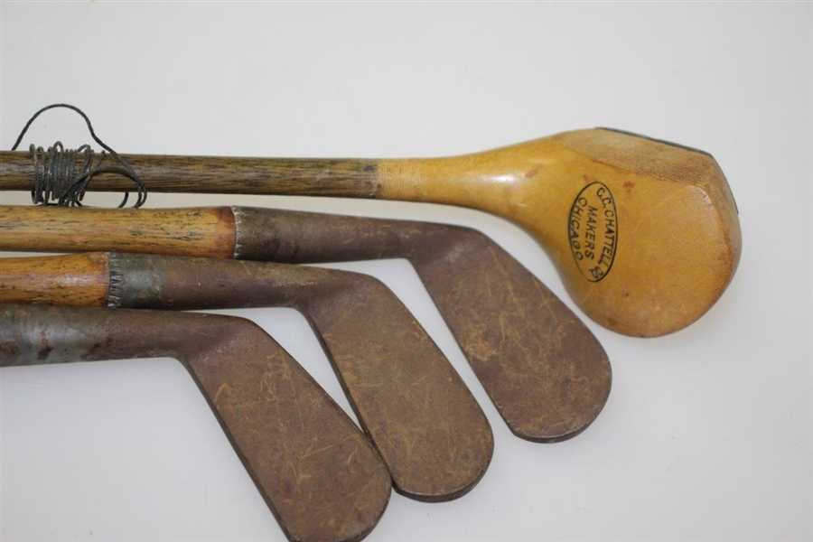 CC Chattell Co Makers Chicago Junior Club Hickory Set w/ Irons and Wood Driver