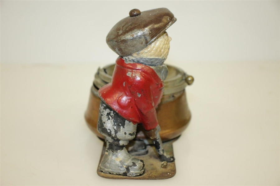 Vintage Dunlop Man Painted Metal Ashtray Advertising Figure w/ 'TIME' Pint Ad