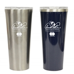 Pair of Arnold Palmer Invitational Stainless Steel Corksicle 24oz Tumbler Glasses - Grey & Blue