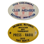 1950 & 1952 Colonial Invitational Golf Tournament Badges - Snead & Hogan Victories
