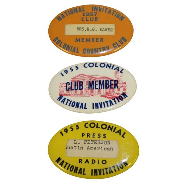 1955 (x2) & 1957 Colonial Invitational Tournament Badges - Club Member, Member, & Press/Radio