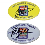 Phil Mickelson & Sergio Garcia Signed Colonial Badges from Winning Years JSA ALOA
