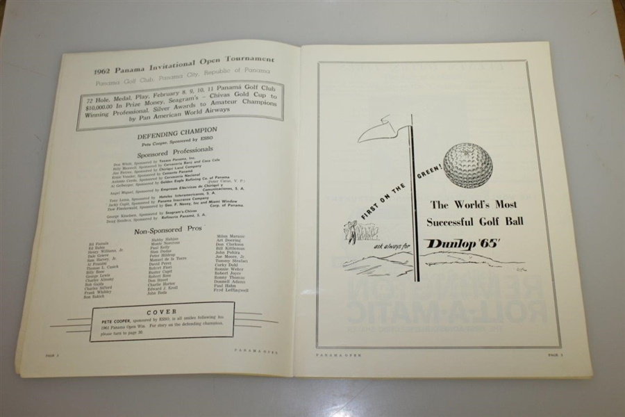 1962 Abierto de Panama at Panama Golf Club Official Program - The Seagram Cup