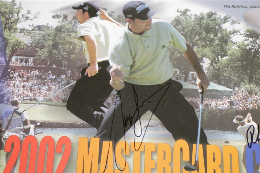 Phil Mickelson, Sergio Garcia, Tom Watson & Olin Browne Signed 2002 Colonial Poster JSA ALOA