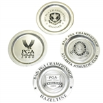 1999, 2000, 2001 & 2002 PGA Championship Commemorative Ltd Pewter Plates - Woods & Others