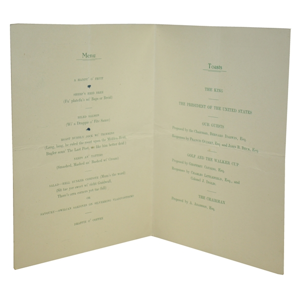 Francis Ouimet Signed 1947 Golf Writers Assoc. Annual Dinner Menu - St Andrews JSA ALOA