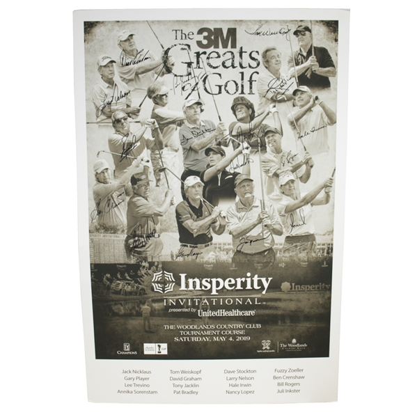 Nicklaus, Player, Trevino, & Others Signed 2019 Insperity Inv. Matted Display JSA ALOA