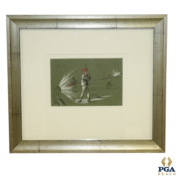 Golfer by Night Color Print by Edith A. Cobieu