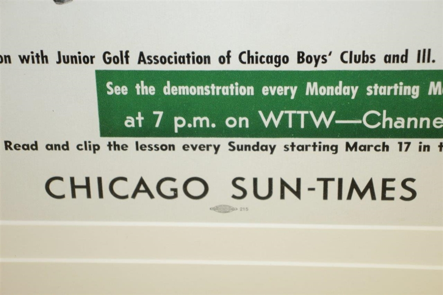 1960's Poster Advertising Chick Evans And Harry Pezzullo PGA Golf Clinic In Chicago