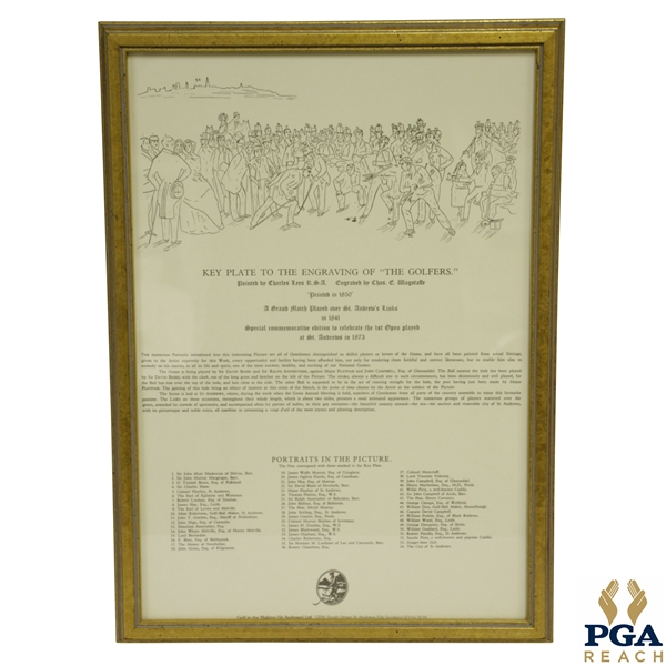 Key To 'The Golfers' Engraving Print by Charles Lee & Chas Wagstaffe