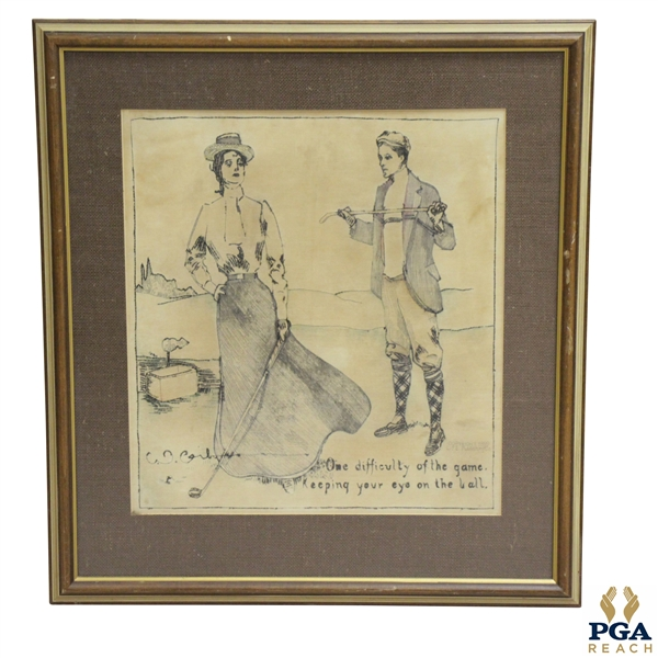 1899 Life Magazine Original Stitched Tapestry Of Golfing Couple