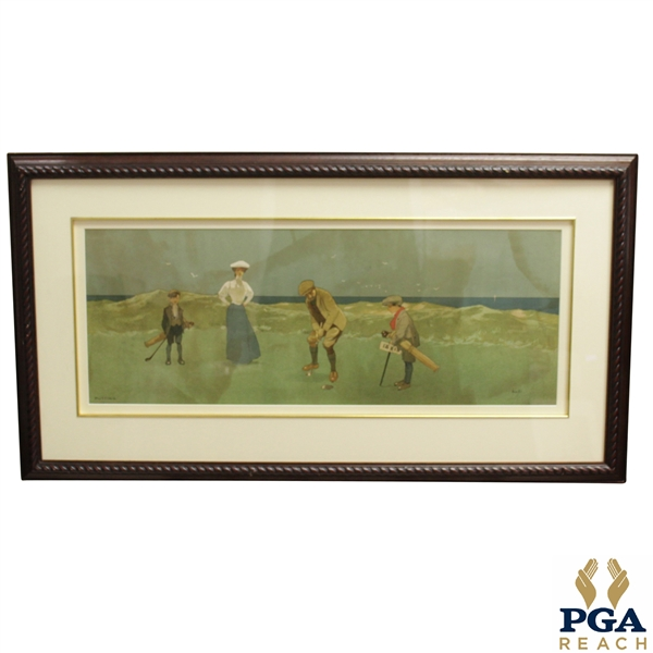 'Putting' Lithograph of Couple Playing Golf by the Sea w/ Caddies