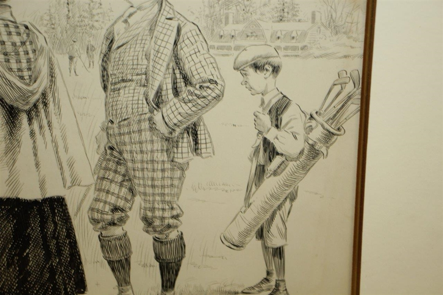 Original Pen and Ink on Board Signed (Samuel D.) Ehrhart Golf Illustration for Puck Magazine