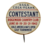 1942 Hale America National Open Contestant Badge HOGANS First Major WIN ? - RARE