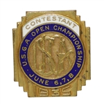 1935 US Open at Oakmont CC Contestant Badge in Very Good Condition - Sam Parks Jr Winner
