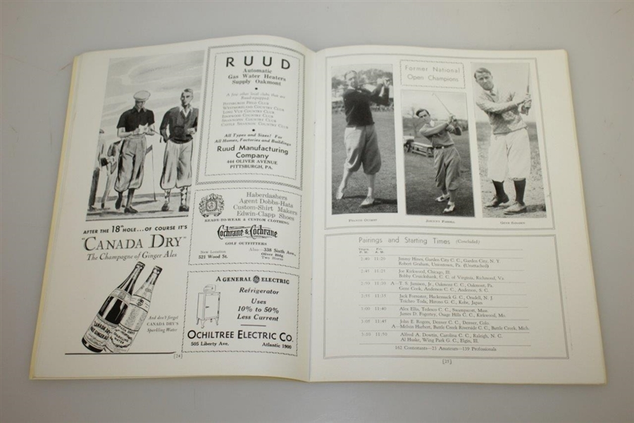 1935 US Open at Oakmont CC Program - Sam Parks Jr Winner