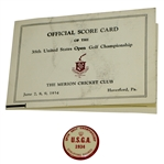1934 US Open Championship at Merion Cricket Club Scorecard & Badge - Olin Dutra Winner