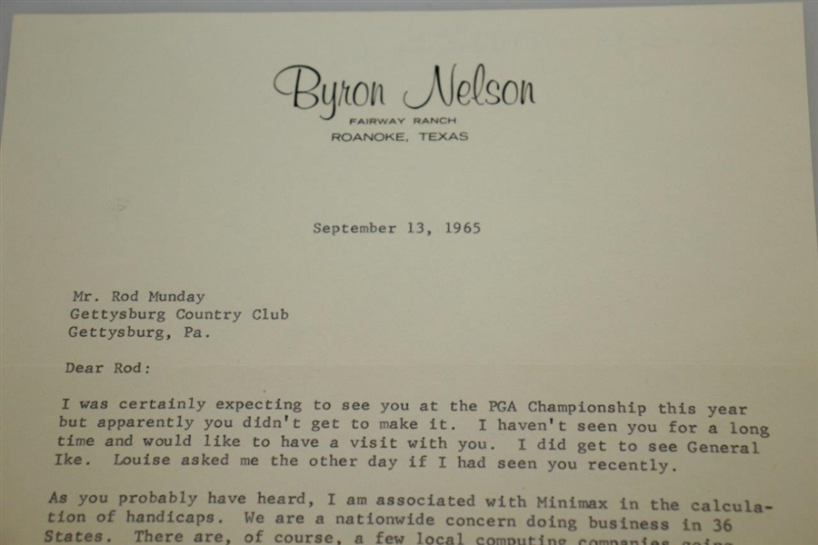 Byron Nelson Signed 1965 Personal Letter to Rod Munday w/ IKE & PGA Champ Mention JSA ALOA