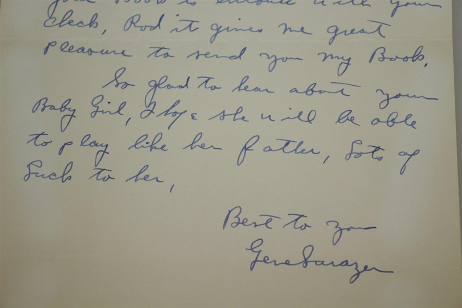 Gene Sarazen Signed 1950 Personal Letter to Rod Munday w/ Book Content JSA ALOA