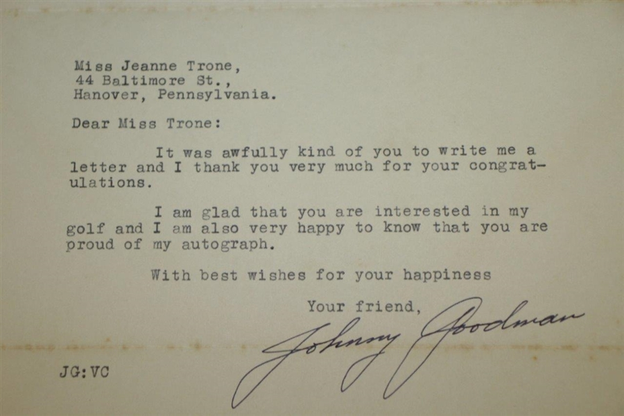 Johnny Goodman Signed 1933 Letter Written 9 Days After Amateur's US Open Win JSA ALOA