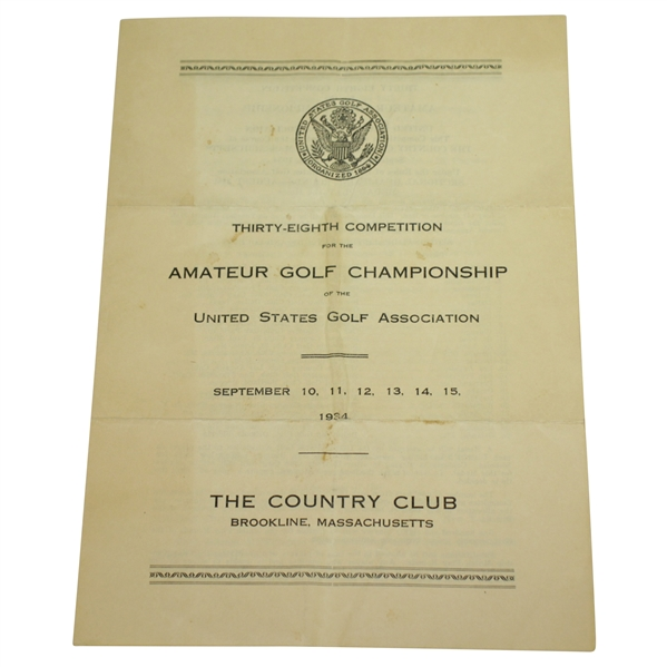 1934 US Amateur at The Country Club Brookline Itinerary - Lawson Little Little Slam Victory