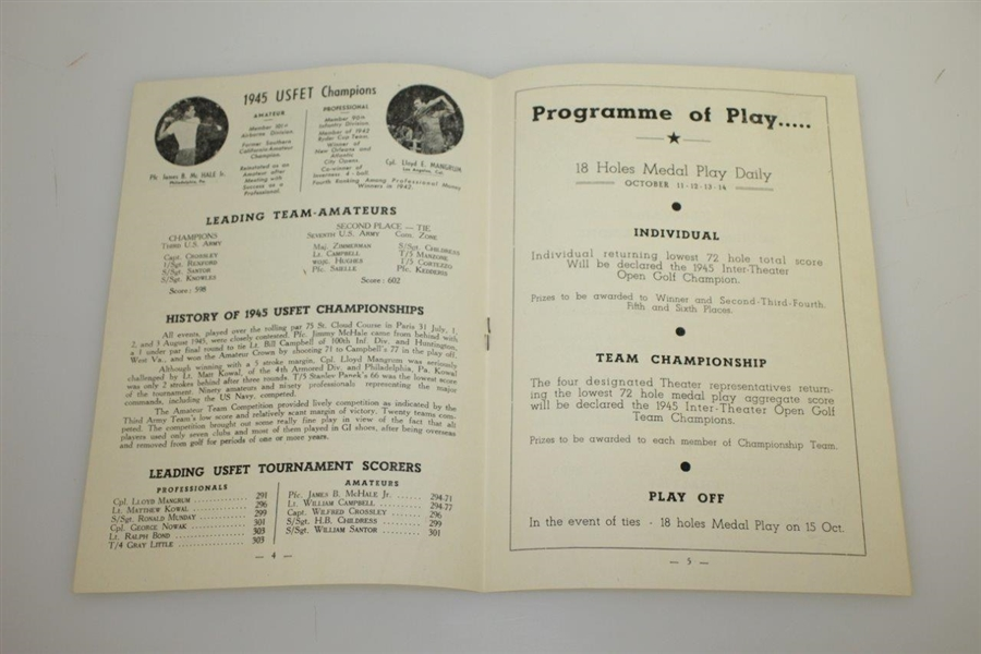 1945 Inter Theater Open at Biarritz GC Golf Championship Program
